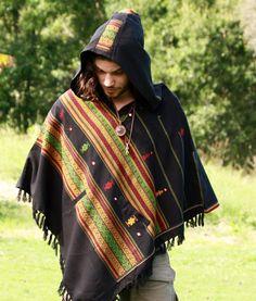 Handmade Poncho with Hoodie Light Brown Kashmiri Wool, Earthy Tribal Pattern Festival Gypsy AJJAYA Mens Wear Winter Warm Primitive Natural