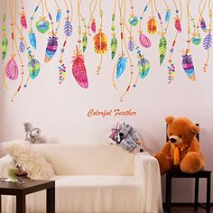 Cheap feather wall sticker, Buy Quality sticker for kids room directly from China home decor stickers Suppliers: Brand 2017 Colorful Feathers Wall Sticker DIY PVC Material Creative Home Decor Sticker for Kids Rooms Nursery School Decoration