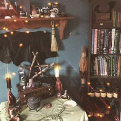 My Wiccan Altar - Spring Edition Wiccan Alter, Pagan Altar, Witch Cottage, Witch House, Wallaper Iphone, Pagan Witch, Witches, Witch Room, Wiccan Decor