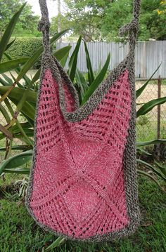 Knitting Pattern for Community Garden Bag - This lace tote bag is one of the 23 patterns in Warm Weather Knits by Deborah Newton. Pictured project by karilfuge