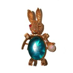 Vintage Bunny Brooch Pin with Gemstones - Opal
