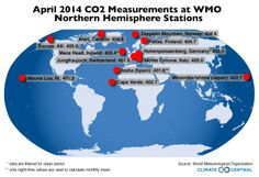 Carbon Dioxide Passes Global 400 ppm Milestone - A new carbon dioxide milestone has been reached according to the World Meteorological Agency. Average carbon dioxide measurements at all monitoring stations in the northern hemisphere were above 400 parts per million for the month of April, the first time that's been recorded in human history.