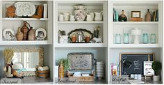 One Shelf Three Ways To Decorate - Kitchen Shelves Decorating Ideas Styling Bookshelves, Bookshelf Decorating, Decorating Ideas, Decor Ideas, Bookcases, Kitchen Bookcase, Rustic Bookshelf, Shelf Arrangement, Country Chic Cottage
