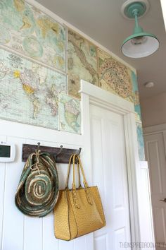 map wall and light fixture.  love.