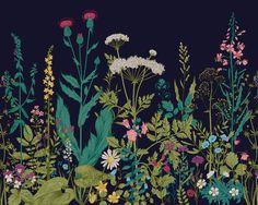 """Brewster WALS0196 118"""" x 94"""" Non-Woven Botanical Fleur Wall Mural Wall Coverings Wallpaper Murals"""