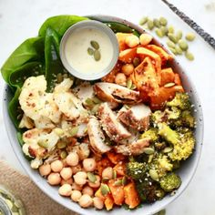 15 Healthy Buddha Bowl Recipes You've Got To Try – Nutrition in the Kitch Tofu, Roasted Vegetables, Veggies, Vegetarian Recipes, Healthy Recipes, Snacks Recipes, Gf Recipes, Potato Recipes, Veggie Recipes