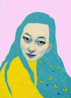 illustrations by Natalie Foss. Love the colours and contrast of detail to block colour, and the eyes in the hair.