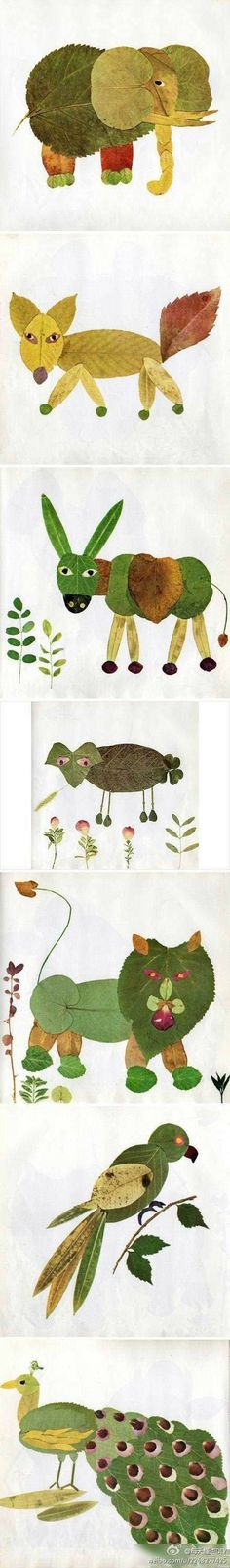 A list of wonderful Fall art activities which include elements such as color, texture, line and shape. These Fall art ideas are unique and fun! Fall Art Projects, Projects For Kids, Diy For Kids, Diy Projects, Kids Crafts, Fall Crafts, Leaf Crafts, Leaf Animals, Kids Animals