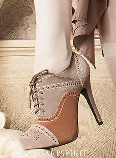 60eb683fd4 Steampunk Tri Tone Oxford Retro Boots Lace Up Western Granny Victorian  Cosplay Saltos