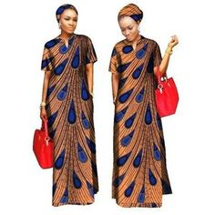 Kitenge Cotton African Women Long Dress with African Clothing For Women Cotton Material Lady Long Dress With Scarf African American Fashion, African Inspired Fashion, African Print Fashion, Africa Fashion, Long African Dresses, African Print Dresses, African Fashion Dresses, Long Ankara Dresses, African Attire