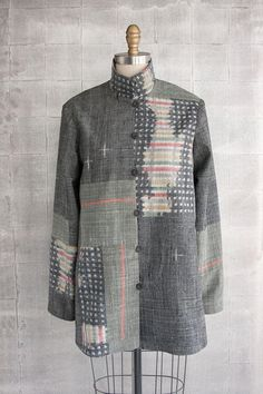 Long Omni #Jacket in #Gray and #Multicolor #Ikats.   #neutrals #slowfashion #fashion #oneofakind #madeintheUSA #Asiatica