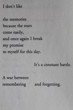 Well...the tears don't come so easily anymore. It's more like numbness...or something like it.