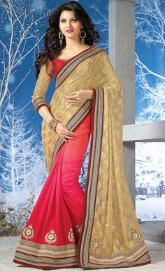 $86.70 Beige Viscose Half and Half Wedding Saree 56416