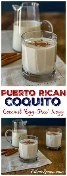 "- Puerto Rican Coconut Egg-Free Nog Puerto Rican style ""egg-free"" egg nogg with coconut milk and rum. Brownie Desserts, Oreo Dessert, Mini Desserts, Plated Desserts, Puerto Rican Dishes, Puerto Rican Cuisine, Puerto Rican Recipes, Puerto Rican Rum, Cuban Recipes"