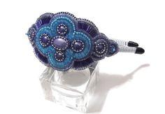 Bead embroidered headband and bracelet by GabileriaHM on Etsy