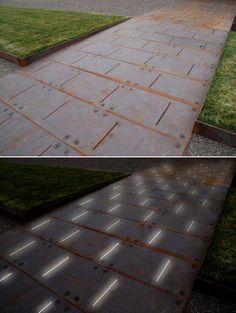 Paving Detail of COR-TEN ramp - LED lighting glows from below Photo: Andrea…