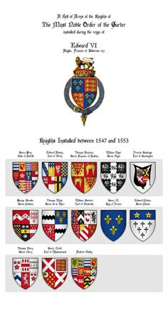 Roll of Arms - Knights of the Garter Installed during the Reign of King Edward VI Art Print