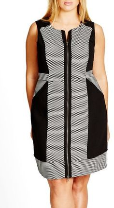 City Chic 'Lunch Date' Sleeveless Colorblock Zip Front Dress (Plus Size)