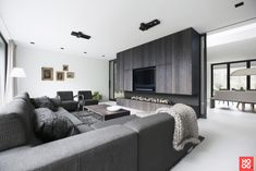 The post Villa Bennekom interior appeared first on HOOG.design - Exclusive living inspiration in the United Kingdom. Best Home Theater, Home Theater Setup, Home Theater Seating, Modern Interior, Interior Architecture, Interior Design, Living Room Grey, Living Room Decor, Loft Design