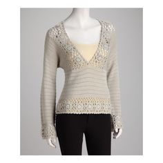 Silver Crocheted V-Neck Top   Daily deals for moms, babies and kids via Polyvore