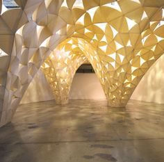 voussoir cloud by lisa iwamoto.  Demonstrates connections between the geometric lattice work of the ancient muslim mosques and modern day parametric modeling