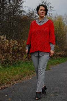 VGRV blog, red sweater, houndstooth pants, black mules, grey blouse, layering