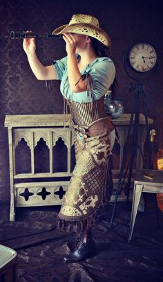 Victorian Steampunk Ride Astride Chaps Chinks Blouse and Bloomers by WaterlilyWorks