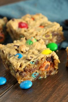 These monster cookie bars have all the peanut buttery, chocolatey, chewy goodness of the traditional cookie, only in super easy bar form.