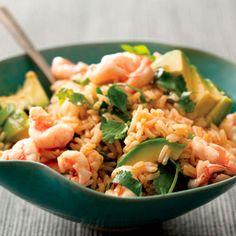 rice with shrimp and avocado