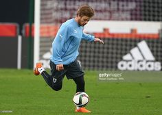Nahitan Nandez of Uruguay runs with the ball during a Uruguay training session at Otago Stadium prior to the FIFA U-20 World Cup on May 30, 2015 in Dunedin, New Zealand.