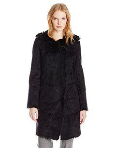 T Tahari Women's Ava Faux Fur and Shearling Coat