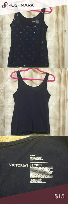 Victoria's Secret Navy Blue Camisole size Medium Size Medium, blue circle shiny discs on the front, plain back. Very comfy! Victoria's Secret Tops Camisoles