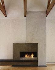 Fire place with wood beams