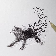 The World of the Mind Expressed in Drawings. To see more art and information about Alfred Basha click the image. Tattoo Drawings, Cool Drawings, Body Art Tattoos, Wolf Tattoos, Tatoo Africa, Fantasy Wolf, Fantasy Art, Alfred Basha, Natur Tattoos