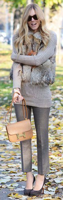 Chiara Ferragni❤ღ ℒℴvℯly fur vest over knit.  http://www.annabelchaffer.com/categories/Ladies/