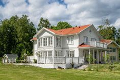 SkärgårdsVillan Nordic Home, Scandinavian Home, House Front, My House, New England Hus, German Houses, Home Focus, Swedish Cottage, Pergola Patio