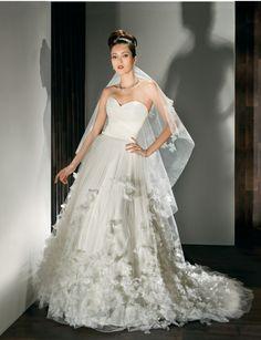 Demetrios draped romantic wedding dress