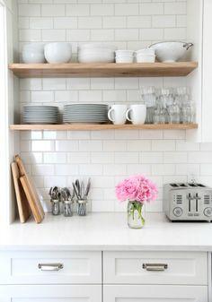 Beautiful House   Kitchen Storage – Open shelving. White subway tiles.