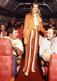 Fall of 1974 Southwest Airline Flight Attendant uniform option (they had about 4 options of coordinated looks) - aren't you glad you didn't work for this company then!!