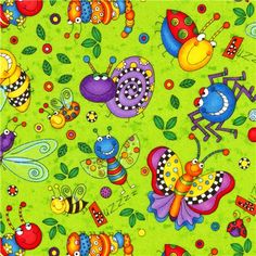 green insect bugs flannel fabric by Timeless Treasures USA