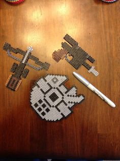 Star Wars perler bead millenium falcon with Han by Mattsterpieces