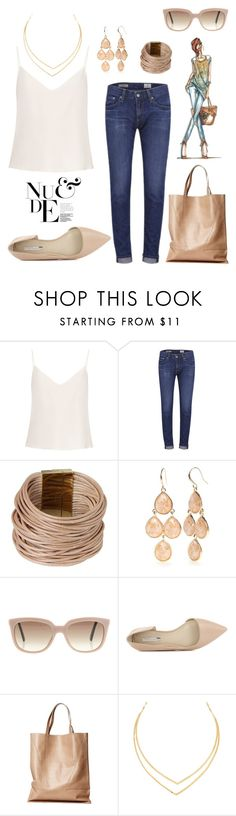 """""""Let's Get Nude."""" by schenonek ❤ liked on Polyvore featuring Raey, AG Adriano Goldschmied, Armani Jeans, Saachi, New Directions, Christian Dior, BCBGeneration, London Edit and Lana"""