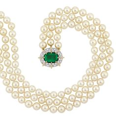 Triple Strand Cultured Pearl Necklace with Emerald and Diamond Clasp, Schlumberger, France