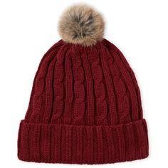 C-Lective Real Fur Pom-Pom Beanie ($13) ❤ liked on Polyvore featuring accessories, hats, red, cable knit hat, cable knit beanie, fur hat, red hat and fur pom pom hat
