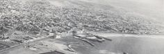 Aerial view of old RB pier area shows Fox theater north of pier.
