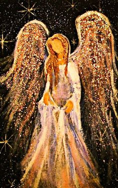Acrylic painting by Cape Cod artist Breten Bryden, specializing in coastal, animal and angel art, also Antique Map colorationReally liking these glitter angel paintingsAngel with sparkly gold wings.The Angelic Realm.The Angel of Henderson (Christy Ly Christmas Paintings, Christmas Art, I Believe In Angels, Angel Pictures, Angel Images, Angels Among Us, Painting Inspiration, Painting & Drawing, Rock Painting