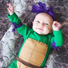 32 halloween costume for kids!Halloween may be a time of all things spooky and scary but you just can\'t beat the cuteness of a toddler in costume. Find the best toddler Halloween Costume . Baby Ninja Turtle Costume, Girl Ninja Turtle, Baby Ewok Costume, Ninja Turtles, Turtle Costumes, Cowgirl Costume, Baby Turtles, Turtle Baby, Deer Costume