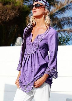 Purple flowing tunic shirt