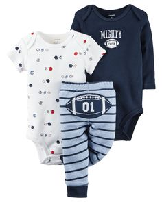 Featuring a cute little football on the bottom and two coordinating bodysuits, this babysoft cotton set lets him mix and match with essential pants.