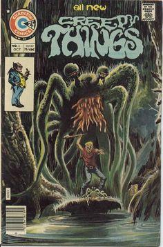 Creepy Things from Charlton Comics series) Ec Comics, Horror Comics, Horror Art, Creepy Comics, Old Comic Books, Vintage Comic Books, Vintage Comics, Pub Vintage, Vintage Horror